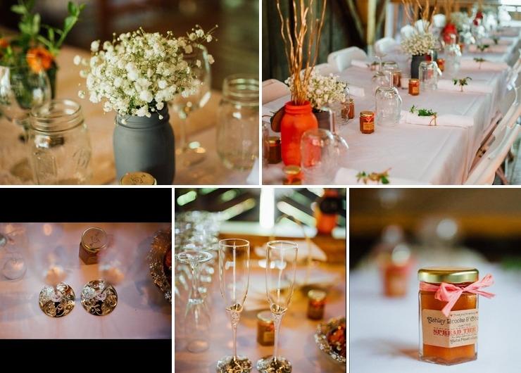 Rustic Peach Wedding Jam Favors