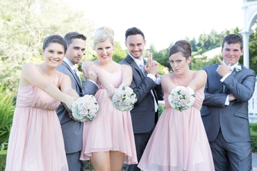Outdoor pink bridesmaids