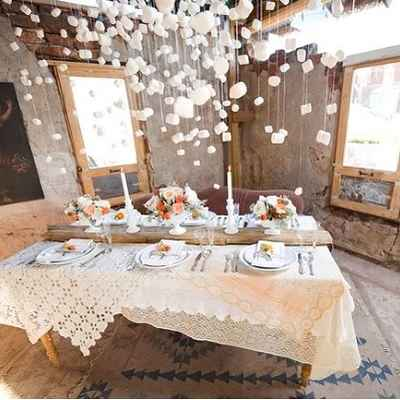 Rustic ivory wedding reception decor
