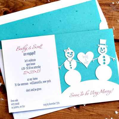 Themed white wedding invitations