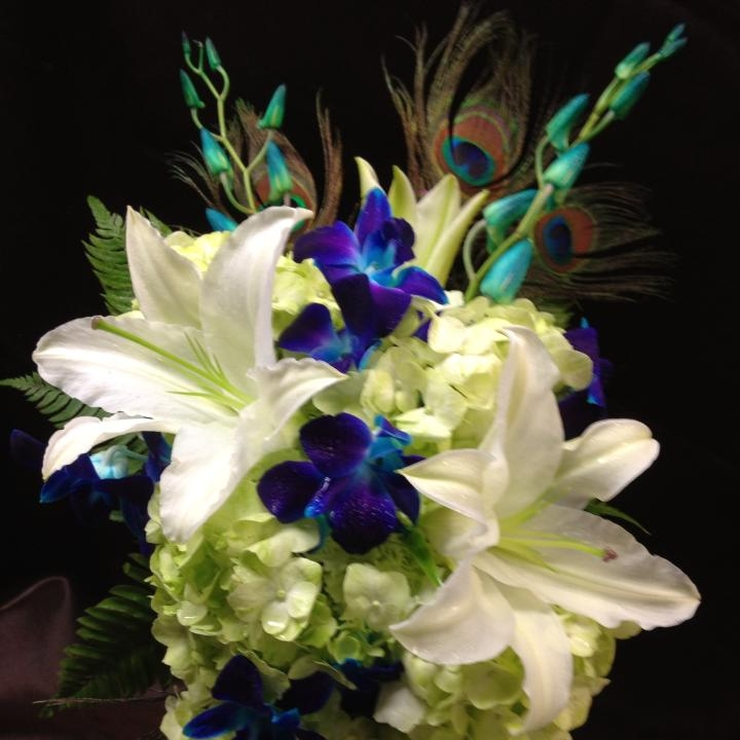 Blue Bom Orchids with Oriental Lilies