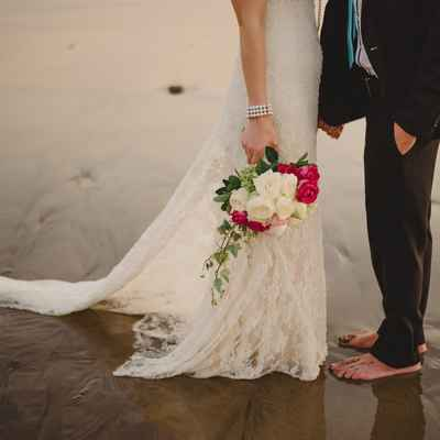 Beach white rose wedding bouquet