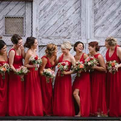 Outdoor red bridesmaids