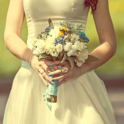 Vintage blue eustoma wedding bouquet