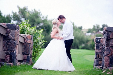 Outdoor white long wedding dresses