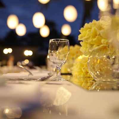 Yellow wedding reception decor