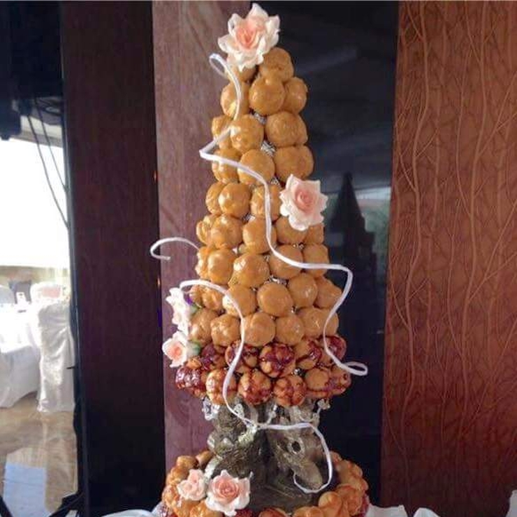Richard + Desiree's Croquembouche on Carrot Cake with Cream Cheese Frosting