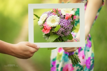 Purple gerbera wedding bouquet