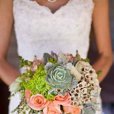 Green rose wedding bouquet