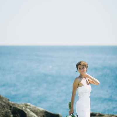 White beach long wedding dresses