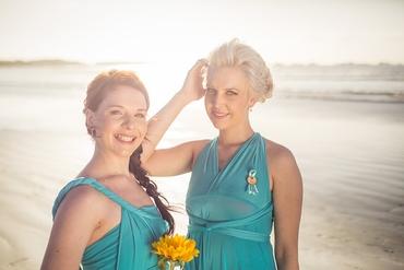 Beach blue bridesmaids
