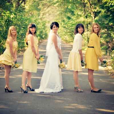 Yellow long wedding dresses