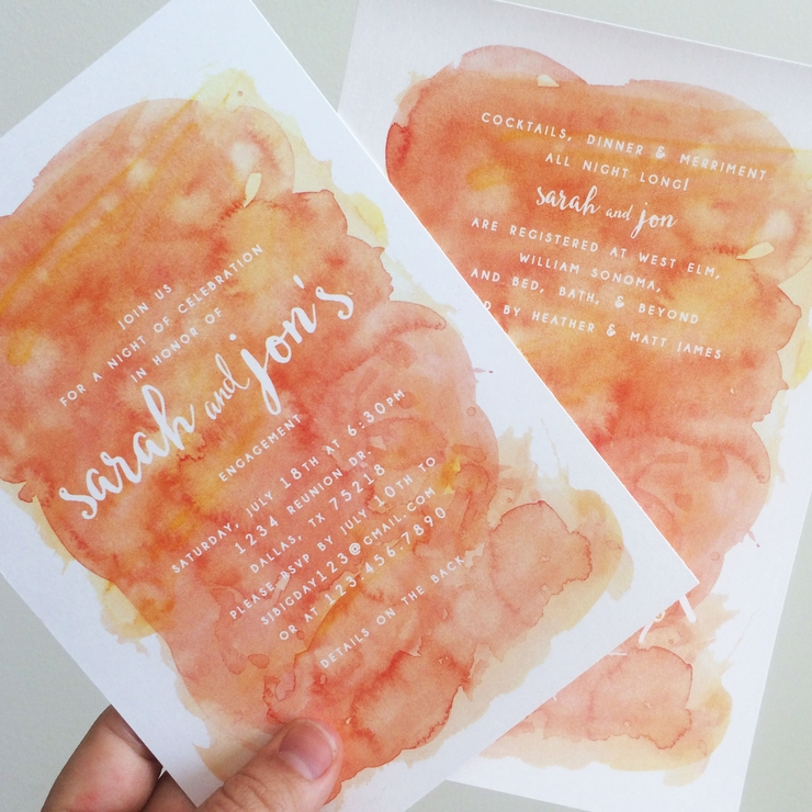 Engagement Party Watercolor Invitations