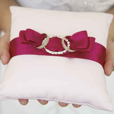 Pink wedding ring pillows