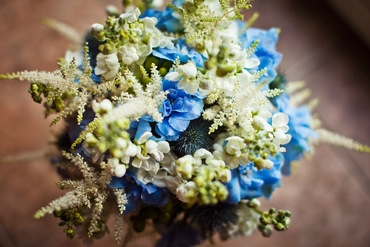 Blue vials wedding bouquet