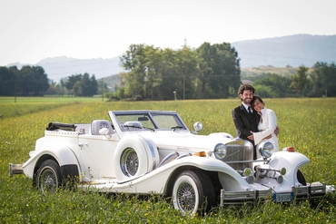 Outdoor white wedding transport
