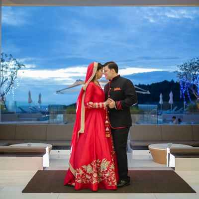 Red ethnical long wedding dresses