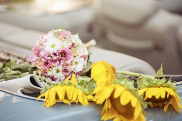 Autumn pink daisy wedding bouquet