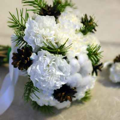 Winter white carnation wedding bouquet