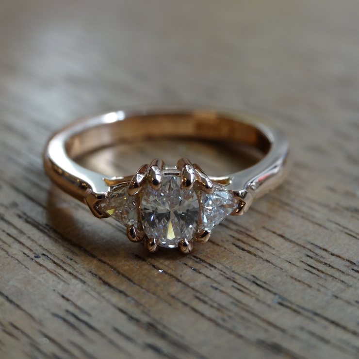 Recycled Diamond and Rose Gold Engagement Ring