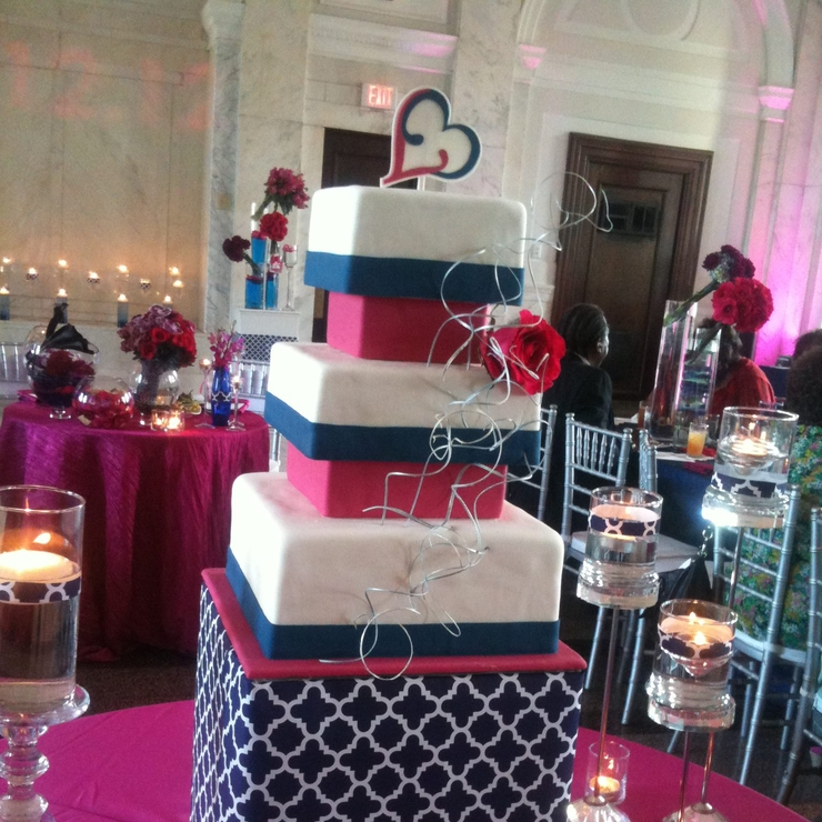 Navy & Pink Modern Wedding Cake