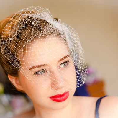Vintage white wedding headpieces, veils, cover-ups & brooches