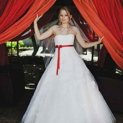 Red open wedding dresses