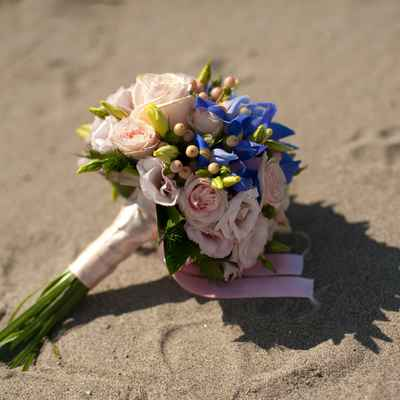 Pink iris wedding bouquet