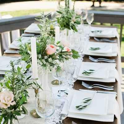 Mediterranean ivory wedding reception decor