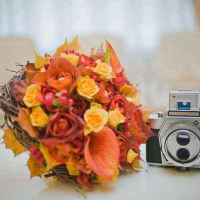 Autumn orange calla wedding bouquet