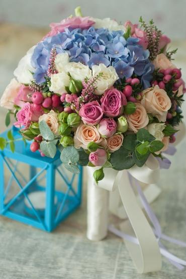 Blue hydrangea wedding bouquet