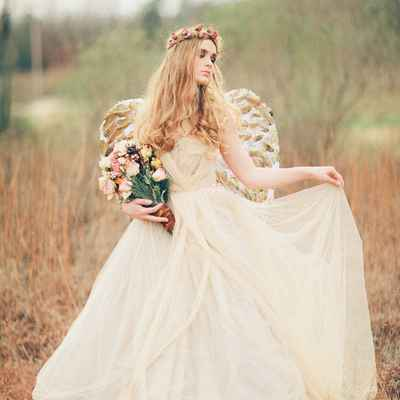 Themed ivory bridal style