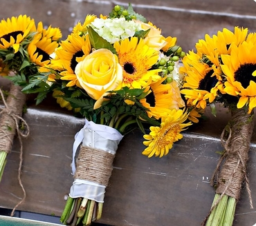 Rustic yellow rose wedding bouquet