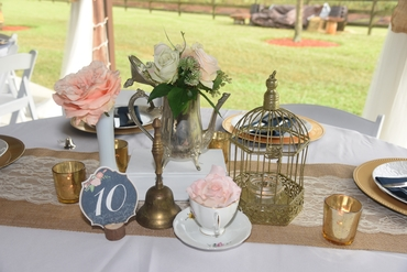 Outdoor white wedding reception decor