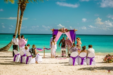 Beach pink wedding ceremony decor