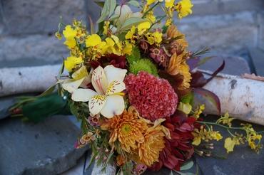 White alstroemeria wedding bouquet
