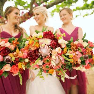 Summer orange outdoor rose wedding bouquet