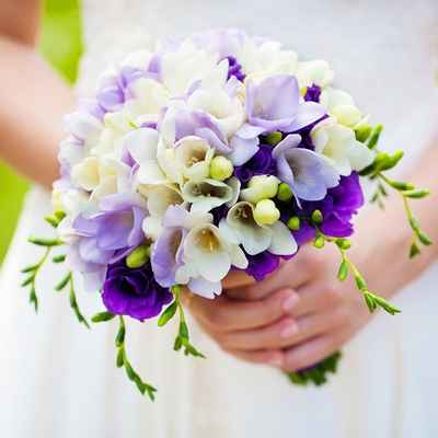 Purple friezes wedding bouquet