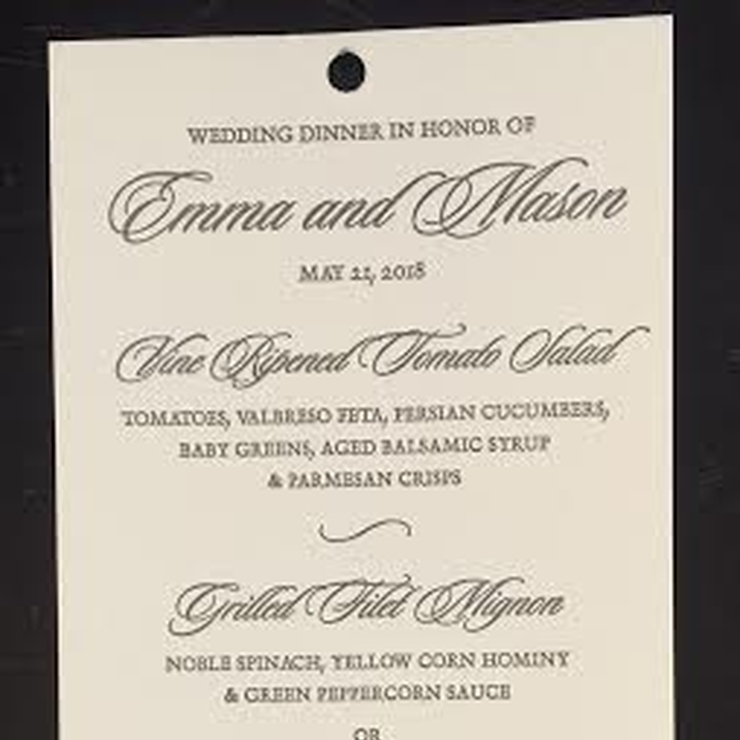 Wedding Dinner Paper Products
