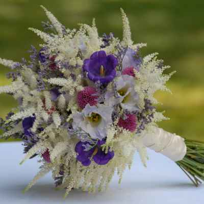 Summer purple eustoma wedding bouquet
