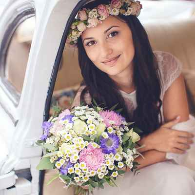 Purple daisy wedding bouquet