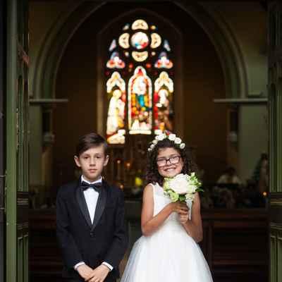 White overseas kids at wedding