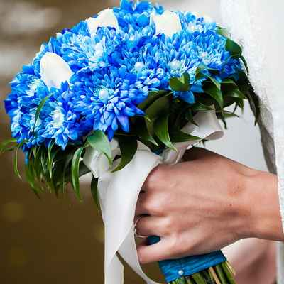 Blue tulip wedding bouquet