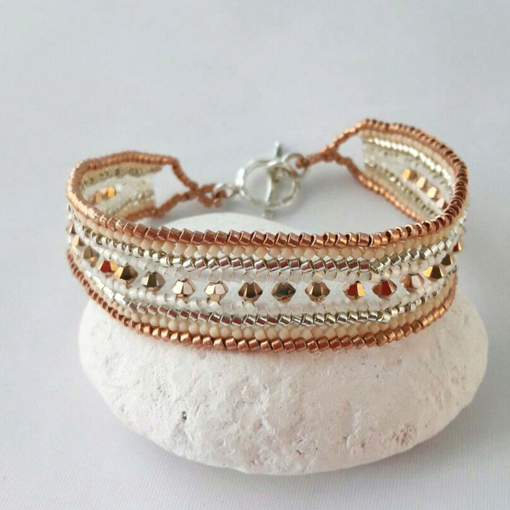 Pretty rose gold cream and silver beaded bracelet, ideal for a beach wedding