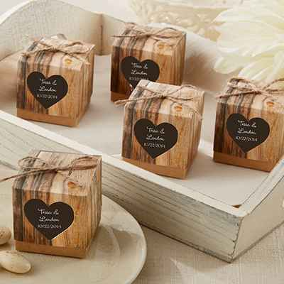 Rustic brown wedding favours