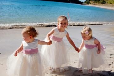 Beach white kids at wedding
