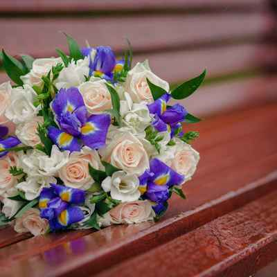 Purple iris wedding bouquet