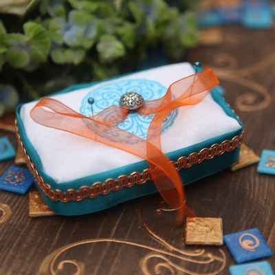 Orange wedding ring pillows