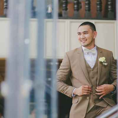 Brown overseas groom style