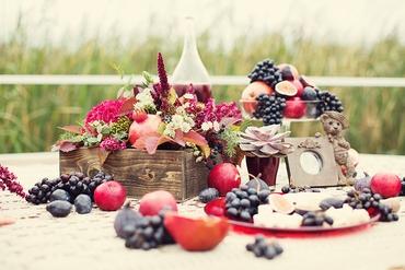 Fruit red wedding photo session decor
